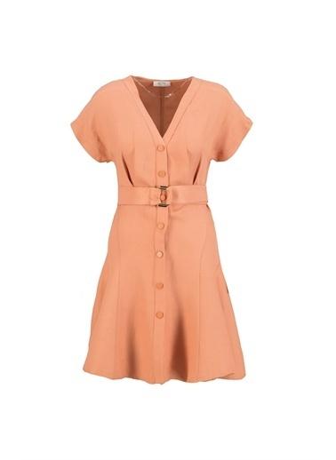 Setre Ekru V Yaka Çıtçıtlı Elbise Kiremit